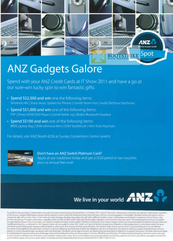 IT Show 2011 price list image brochure of ANZ Credit Card Nintendo Wii Sharp DVD Player Bree Laptop Bag