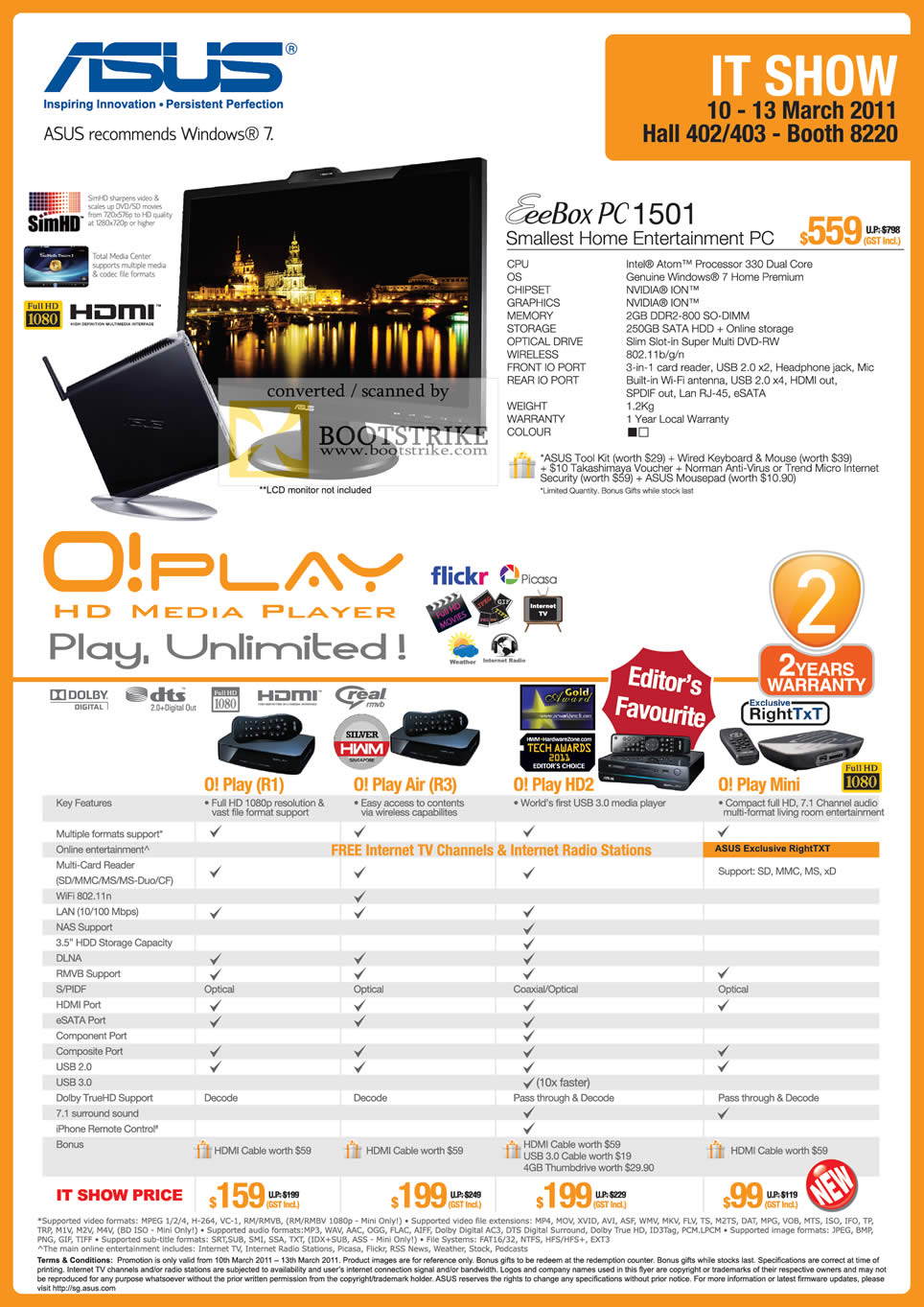 IT Show 2011 price list image brochure of ASUS EEEBox PC 1501 O! Play HD Media Player Air HD2 Mini