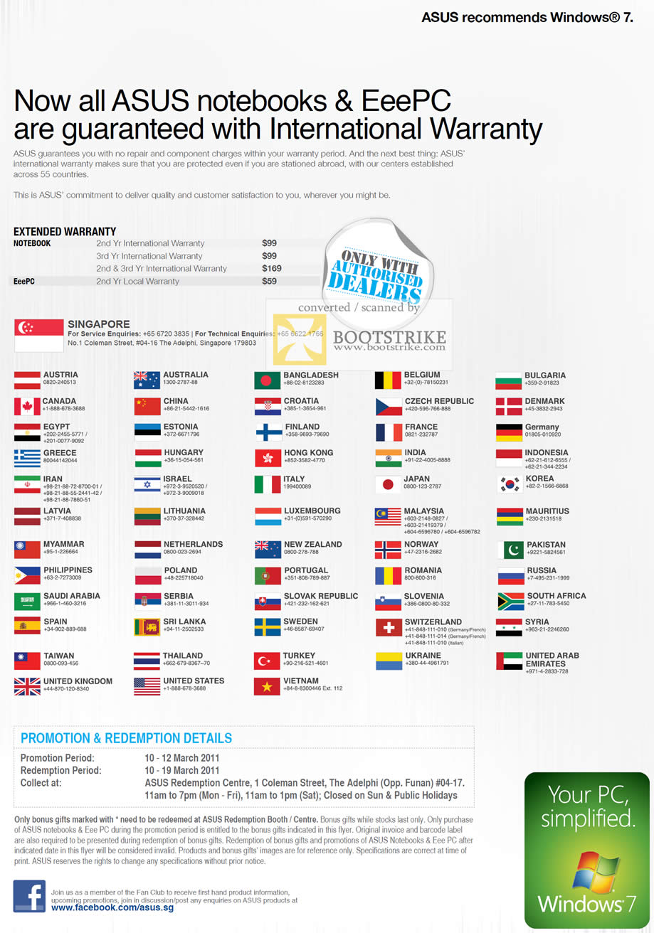 IT Show 2011 price list image brochure of ASUS International Warranty Extended Options Contact Numbers Countries