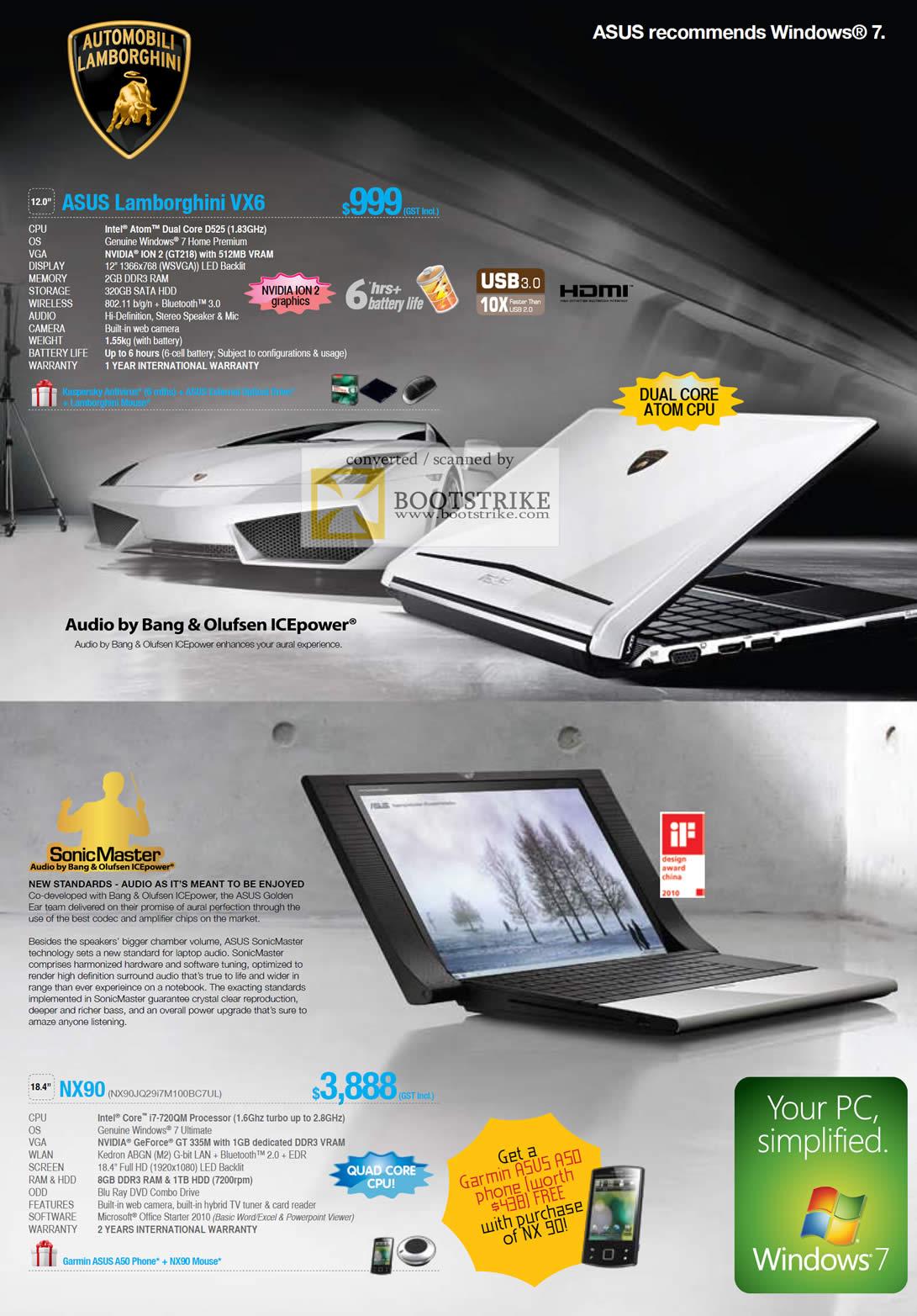 IT Show 2011 price list image brochure of ASUS Lamborghini VX6 Sonicmaster NX90