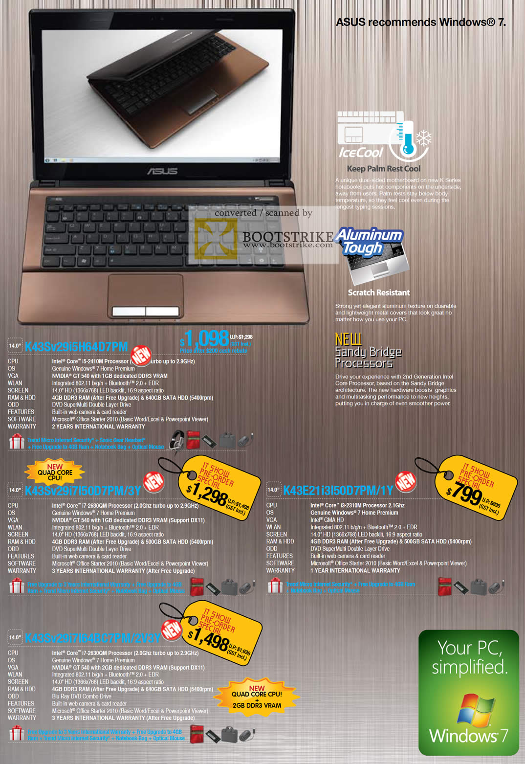 IT Show 2011 price list image brochure of ASUS Notebooks K43S V29i5H64D7PM V29I7150D7PM 3Y K43E 21I3L50D7PM 1Y V29I7L64BC7PM 2V3Y