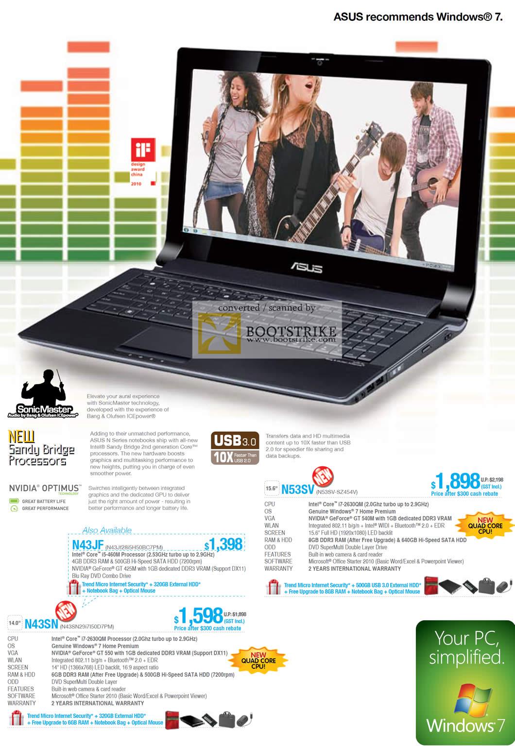 IT Show 2011 price list image brochure of ASUS Notebooks N53SV N43JF N43SN