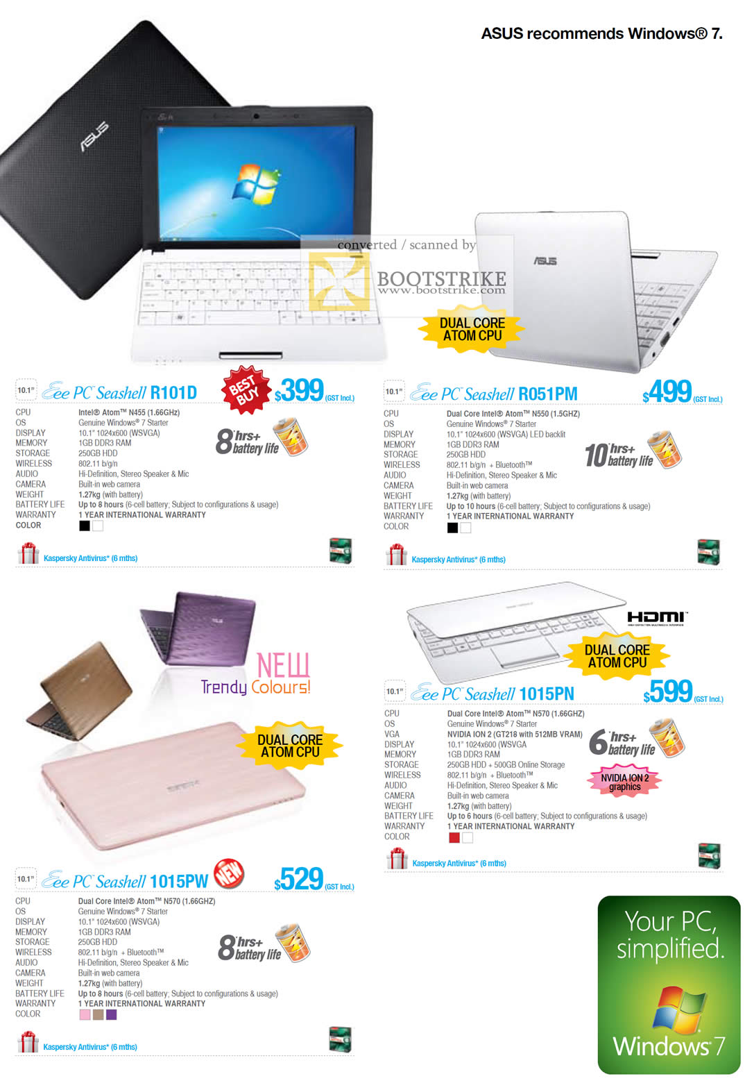 IT Show 2011 price list image brochure of ASUS Notebooks Netbooks Eee PC Seashell R101D R051PM 1015PW 1015PN