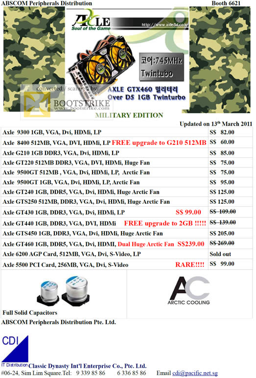 IT Show 2011 price list image brochure of Abscom Axel Graphic Cards 9300 G210 GT2200 9500GT GT240 GTS250 GT430 GTS450 GT460 6200 5500 Arctic Cooling Solid Capacitor