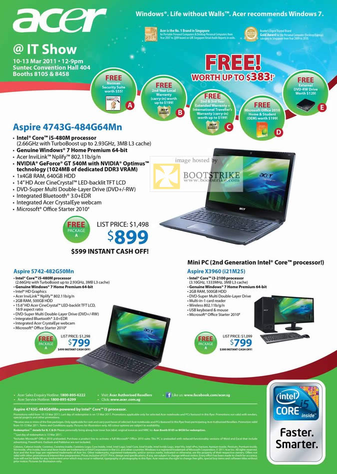 IT Show 2011 price list image brochure of Acer Notebooks Aspire 4743G-484G64Mn 5742-482G50Mn Mini Desktop PC X3960 I21M25