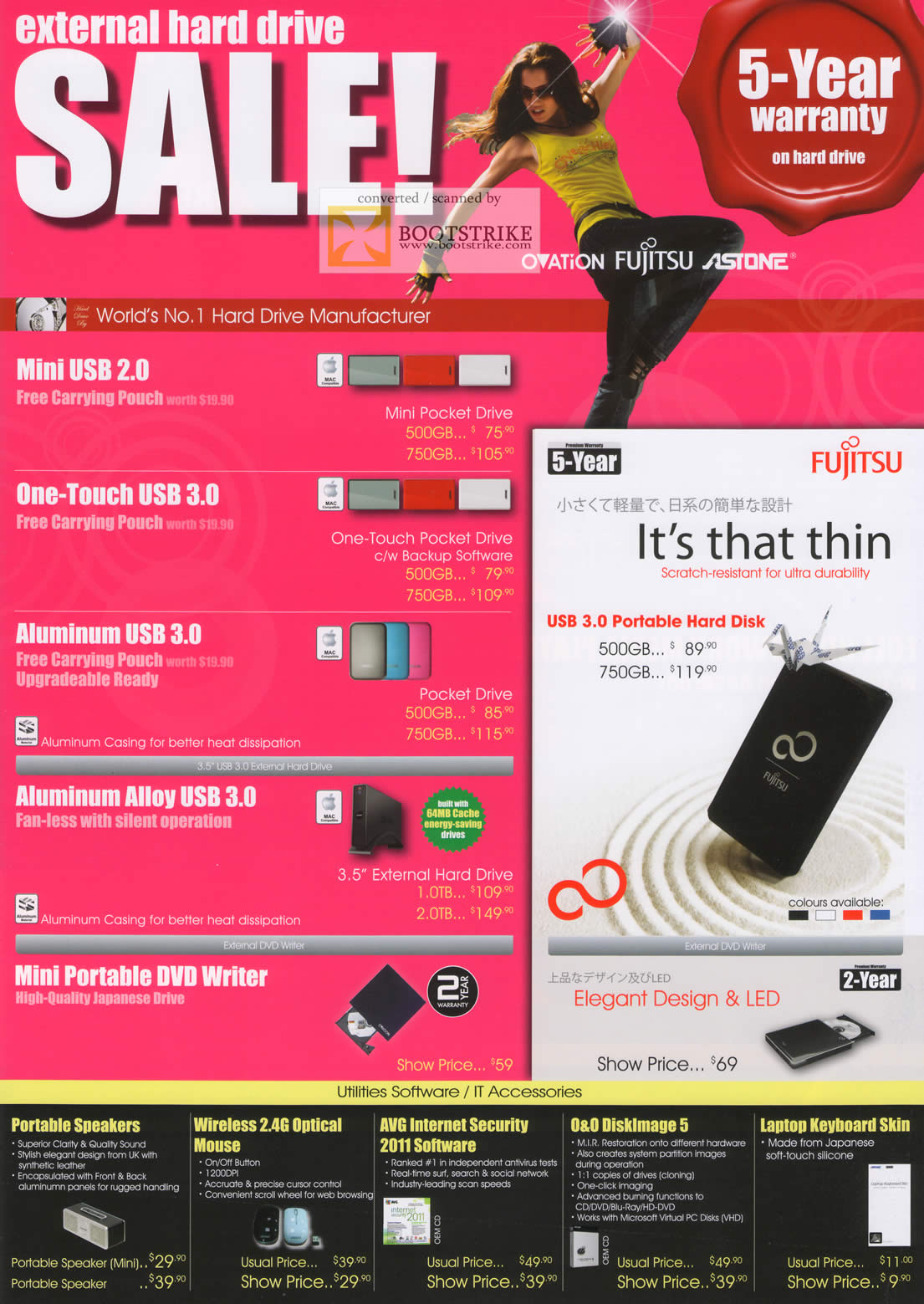 IT Show 2011 price list image brochure of Achieva External Storage Drive USB Mini Pocket One Touch Aluminum Alloy DVD Writer Fujitsu Speakers Mouse AVG DiskImage