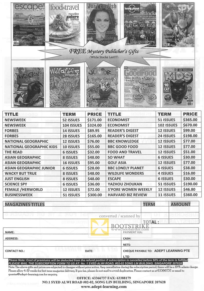 IT Show 2011 price list image brochure of Adept Learning Magazine Subscriptions Escape Food Travel National Geographic Forbes Newsweek Economist