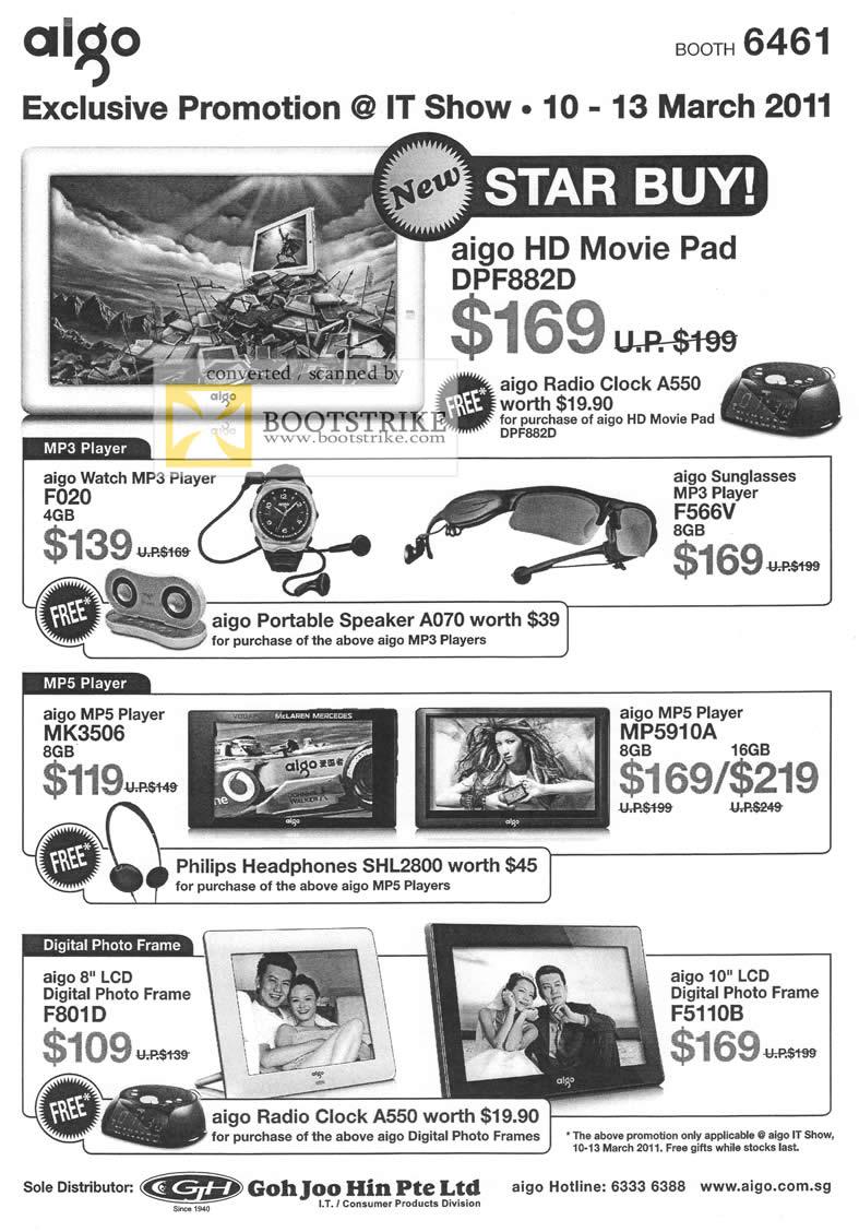 IT Show 2011 price list image brochure of Aigo HD Movie Pad DPF882D MP3 Player F020 F566V MP5 MK3506 MP5910A Digital Photo Frame F801D F5110B Goh Joo Hin