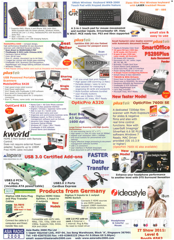 IT Show 2011 price list image brochure of Asia Radio Bluetooth Keyboard Wireless MobileOffice S400 Plustek Scanner OptiSlim 550 SmartOffice PS286Plus 7600i A320 Lapara IdeastyleDigitus Cable Splitter