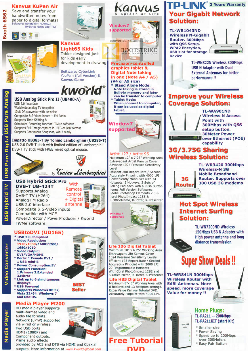 IT Show 2011 price list image brochure of Asia Radio Kanvus KuPen Light65 TP Link Networking Router Gigabit Wireless N Kworld TV Artist 127 95 Media Player HomePlug