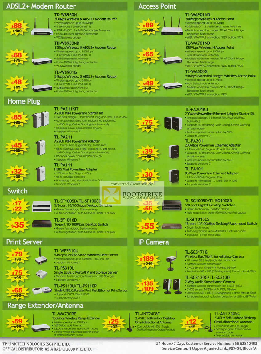 IT Show 2011 price list image brochure of Asia Radio TP-Link ADSL2 Modem Router Access Point HomePlug Switch Print Server IPCam Range Extender Antenna