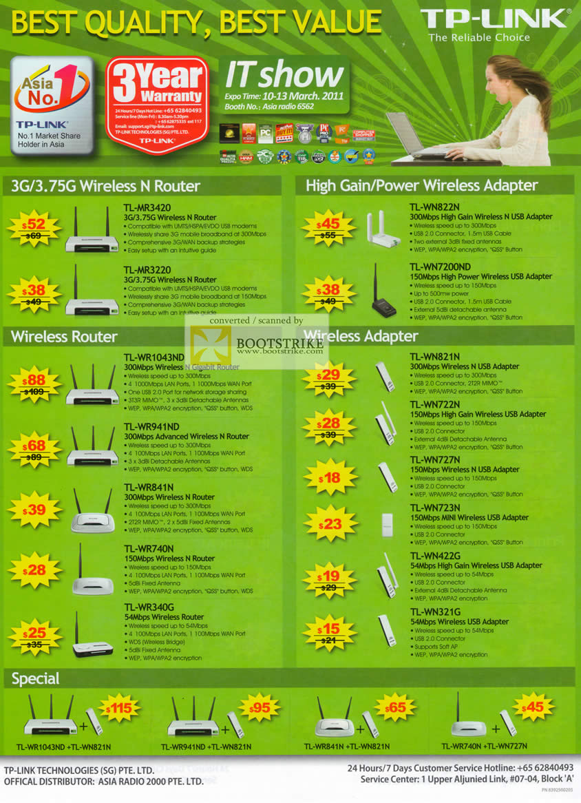 IT Show 2011 price list image brochure of Asia Radio TP-Link Wireless N Router Adapter TL-MR3420 MR3220 WN822N WN7200ND WR1043ND WN821N WR340G WN321G