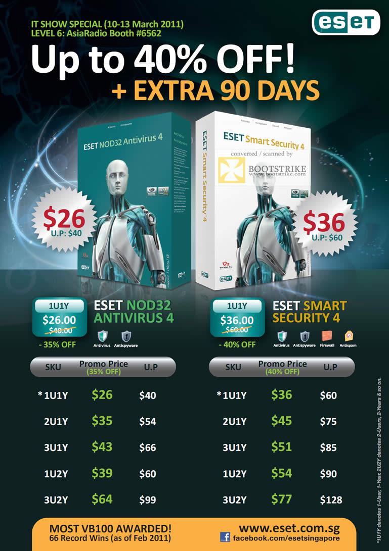 IT Show 2011 price list image brochure of Asia Radio Version 2 Eset NOD32 Antivirus 4 Smart Security 4