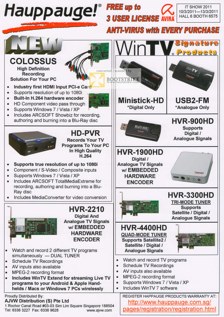 IT Show 2011 price list image brochure of Aurica Hauppauge Colossus HD Recording Ministick USB2-FM HVR-900HD 1900HD PVR 3300HD 4400HD 2210 Video Capture Encoder