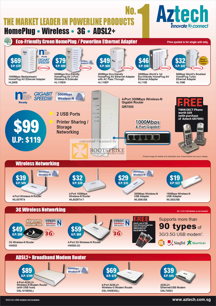 IT Show 2011 price list image brochure of Aztech Powerline Homeplug HL280E HL110EW HL110EP HL110E HL106E GR7000 Wireless N Router 3G ADSL Modem Adapter USB