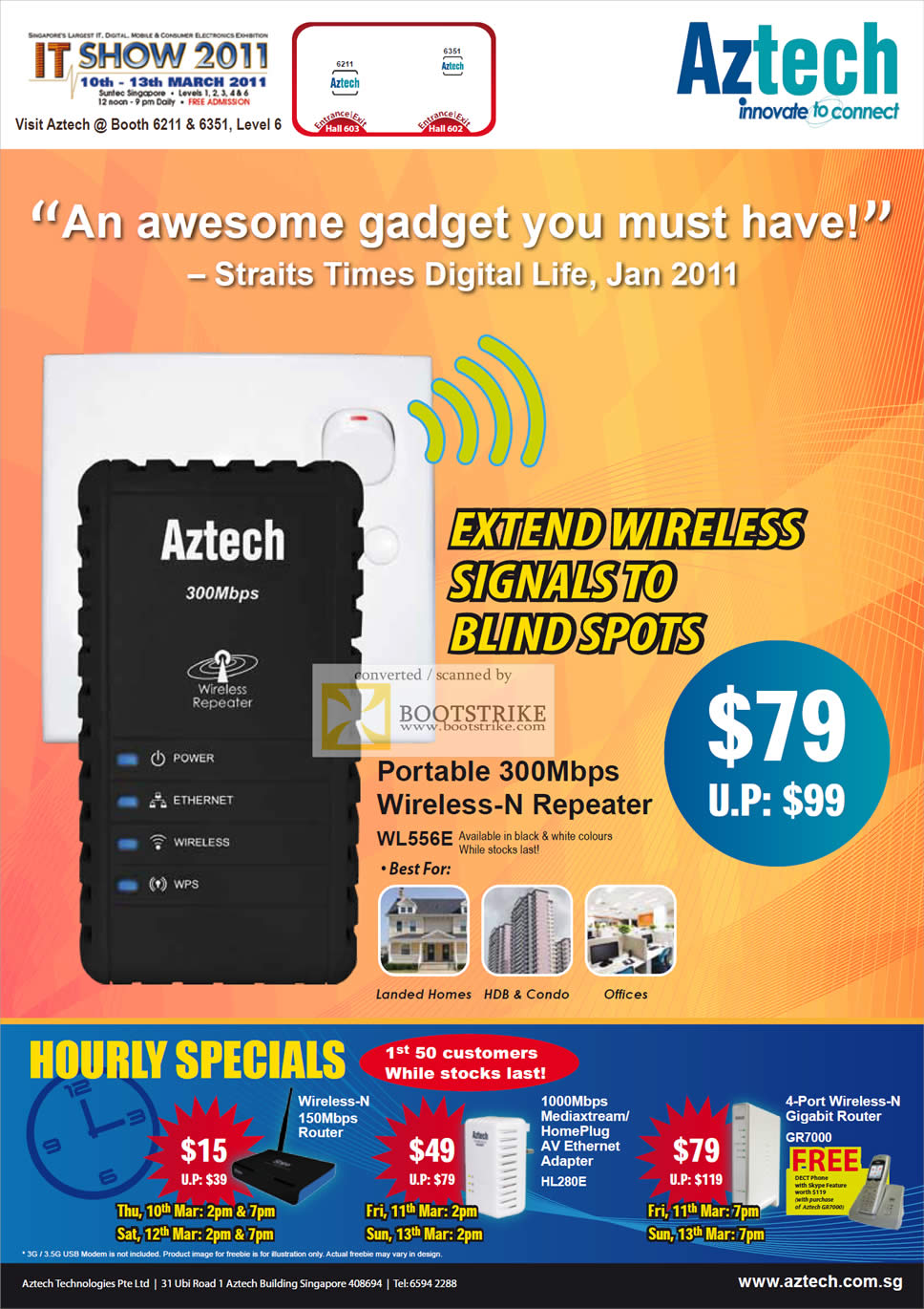 IT Show 2011 price list image brochure of Aztech Wireless N Repeater WL556E Hourly Specials HL280E GR7000