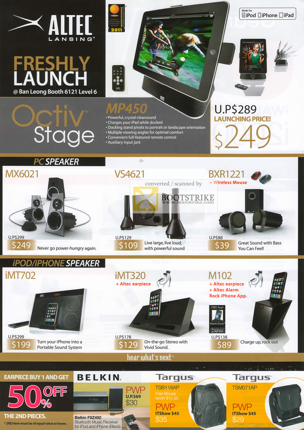 IT Show 2011 price list image brochure of Ban Leong Altec Lansing MP450 IPad Speakers MX6021 VS4621 BXR1221 IMT702 IMT320 M102