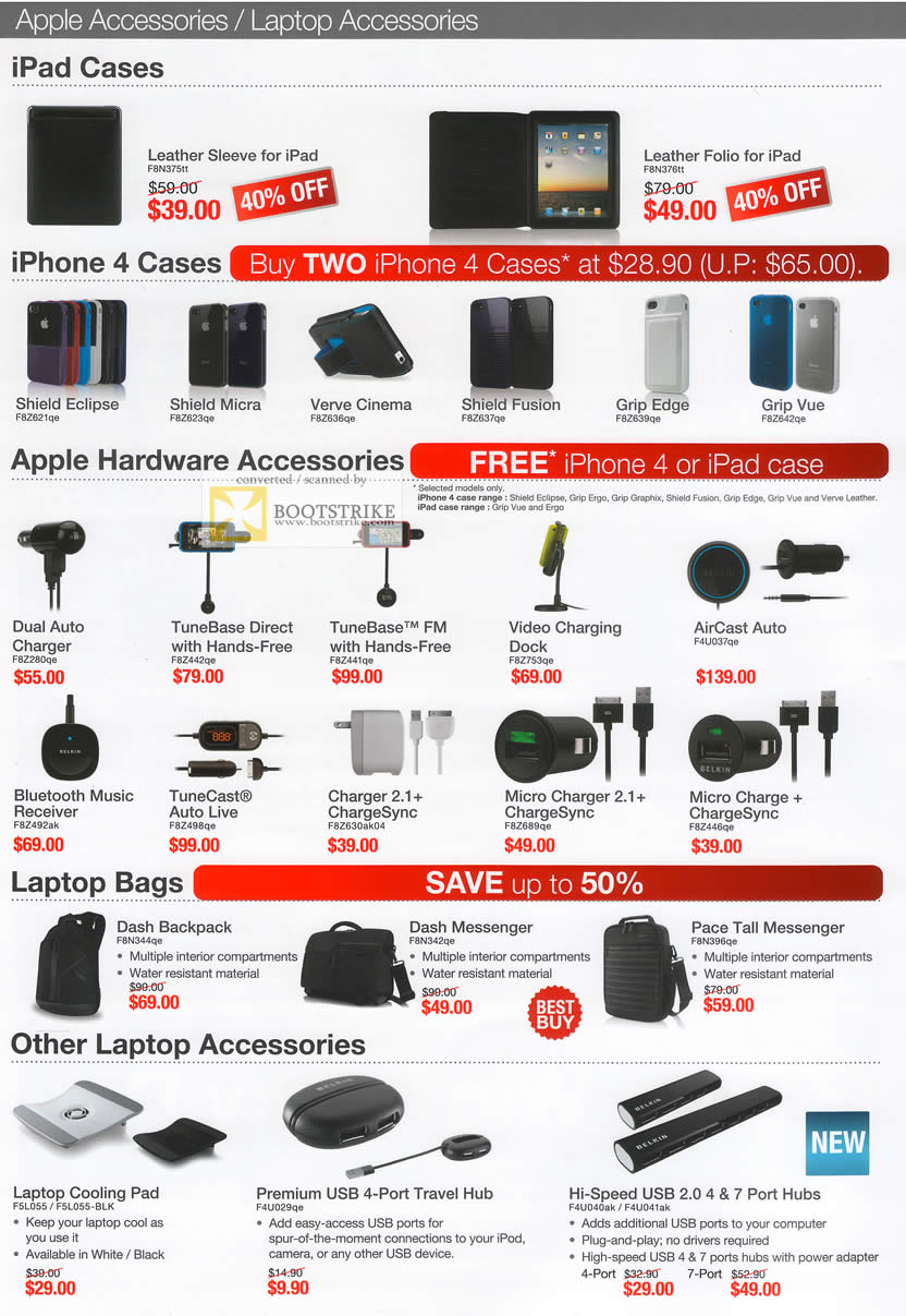 IT Show 2011 price list image brochure of Ban Leong Belkin Apple Accessories IPad Case IPhone TuneBase AirCast Charter Dash Backpack Pace Tall Cooling Pad Hub