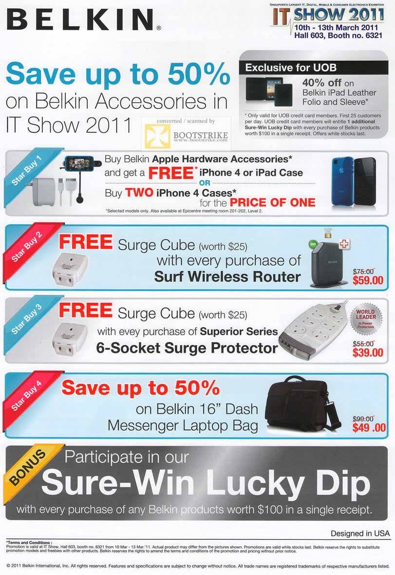 IT Show 2011 price list image brochure of Ban Leong Belkin Star Buys Apple Hardware Accessories Surge Cube Sure Win Lucky Dip