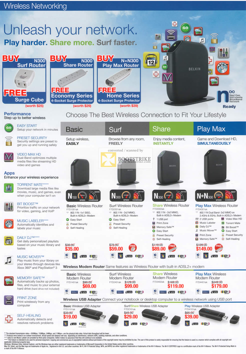 IT Show 2011 price list image brochure of Ban Leong Belkin Surf Router N300 Share Basic Surf Share Play Max Modem Wireless USB Adapter