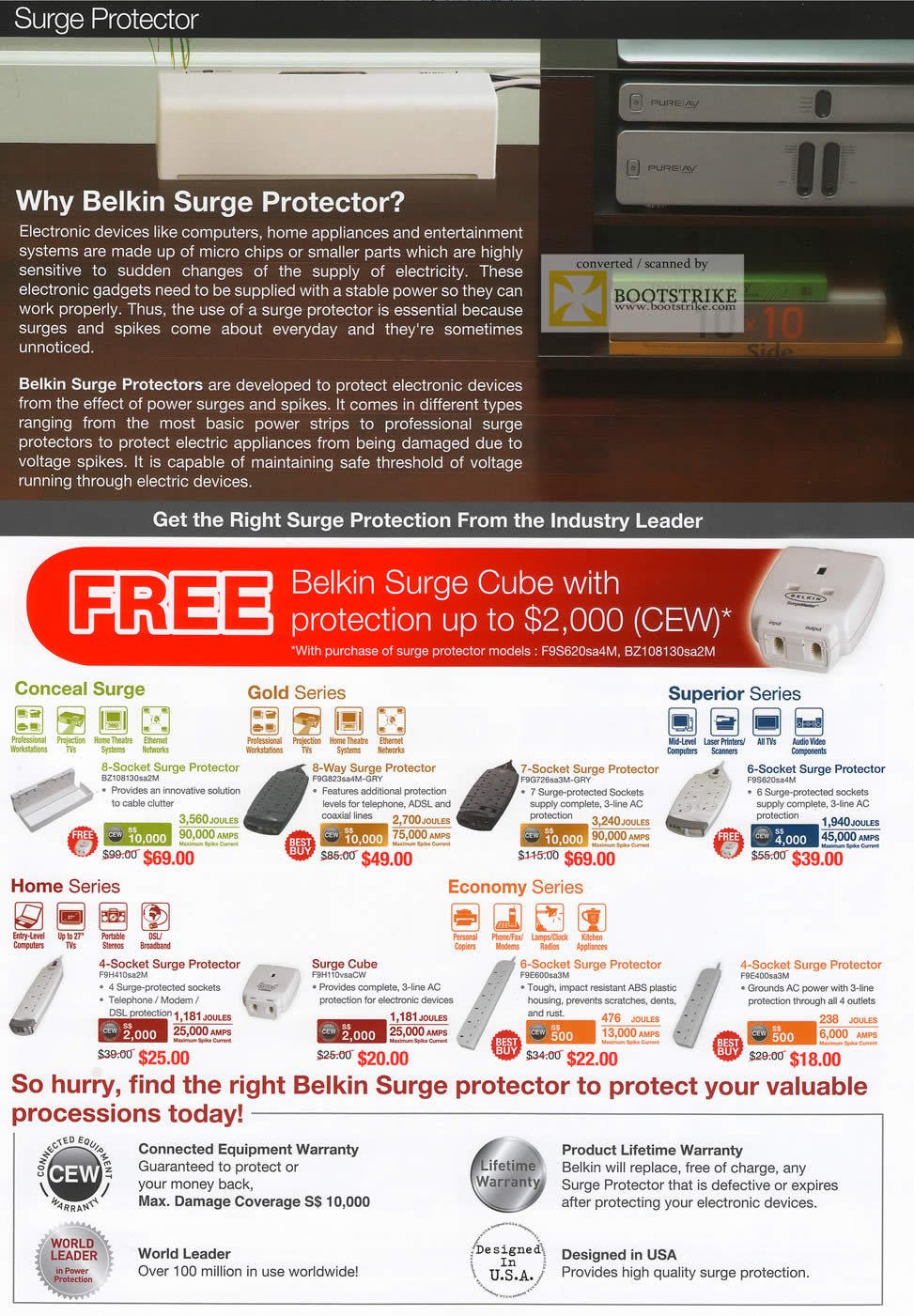IT Show 2011 price list image brochure of Ban Leong Belkin Surge Protector Conceal Gold Superior Home Economy Cube