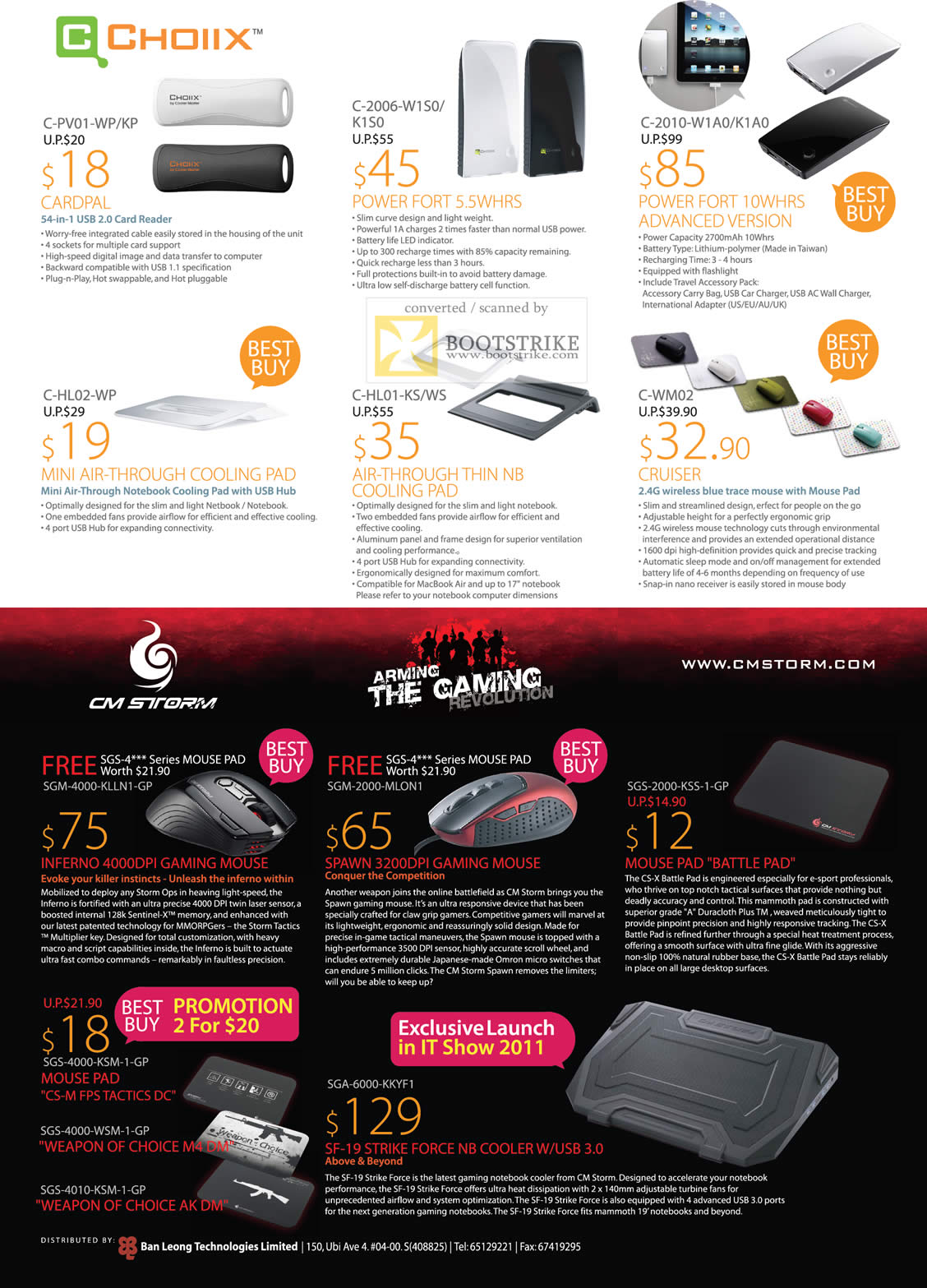 IT Show 2011 price list image brochure of Ban Leong Choiix Card Reader Charger Mouse Cooling Pad CM Storm Inferno Spawn