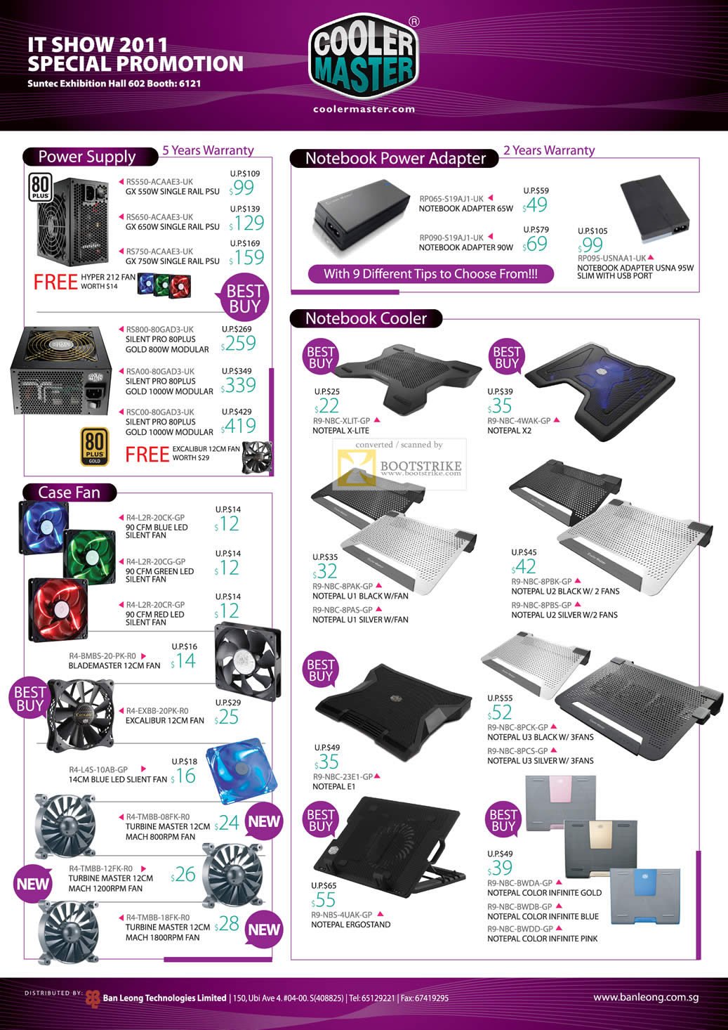 IT Show 2011 price list image brochure of Ban Leong Cooler Master Power Supply Adapter Notebook Cooler GX Silent Pro Case Fan Notepal Ergostand