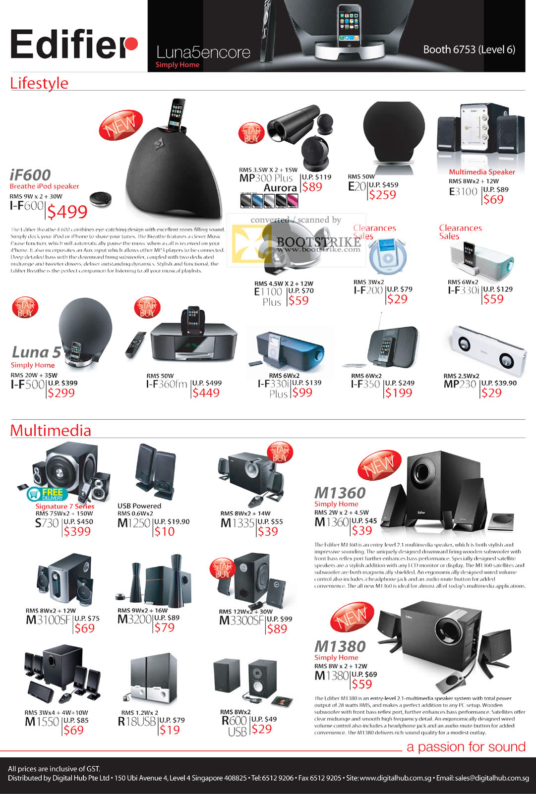 IT Show 2011 price list image brochure of Ban Leong Edifier Speakers IPod IF600 MP300 Plus E20 E3100 E1100 I-F200 I-F330i Luna 5 I-F500 Signature 7 USB M1360 M1380 M1335 M3300SF