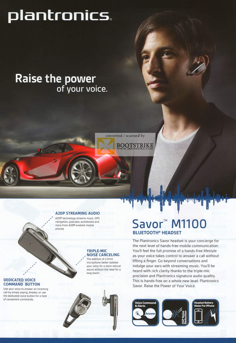 IT Show 2011 price list image brochure of Ban Leong Plantronics Savor M1100 Bluetooth Headset