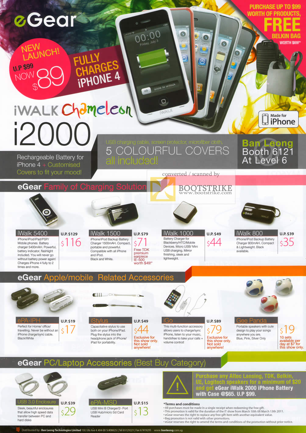IT Show 2011 price list image brochure of Ban Leong EGear IWalk Chameleon I2000 IPhone Battery IWalk EPA-IPH IStylus IGo Gee Panda Enclosure EPA-MSD