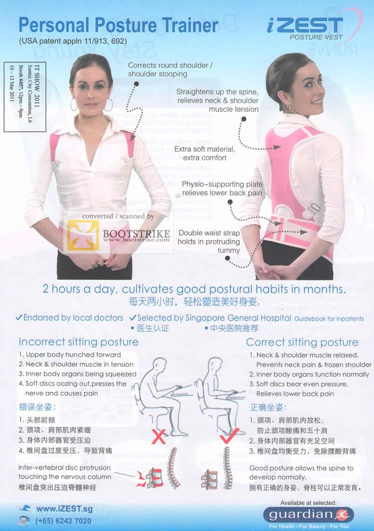 IT Show 2011 price list image brochure of Biovital IZEST Personal Posture Vest Trainer