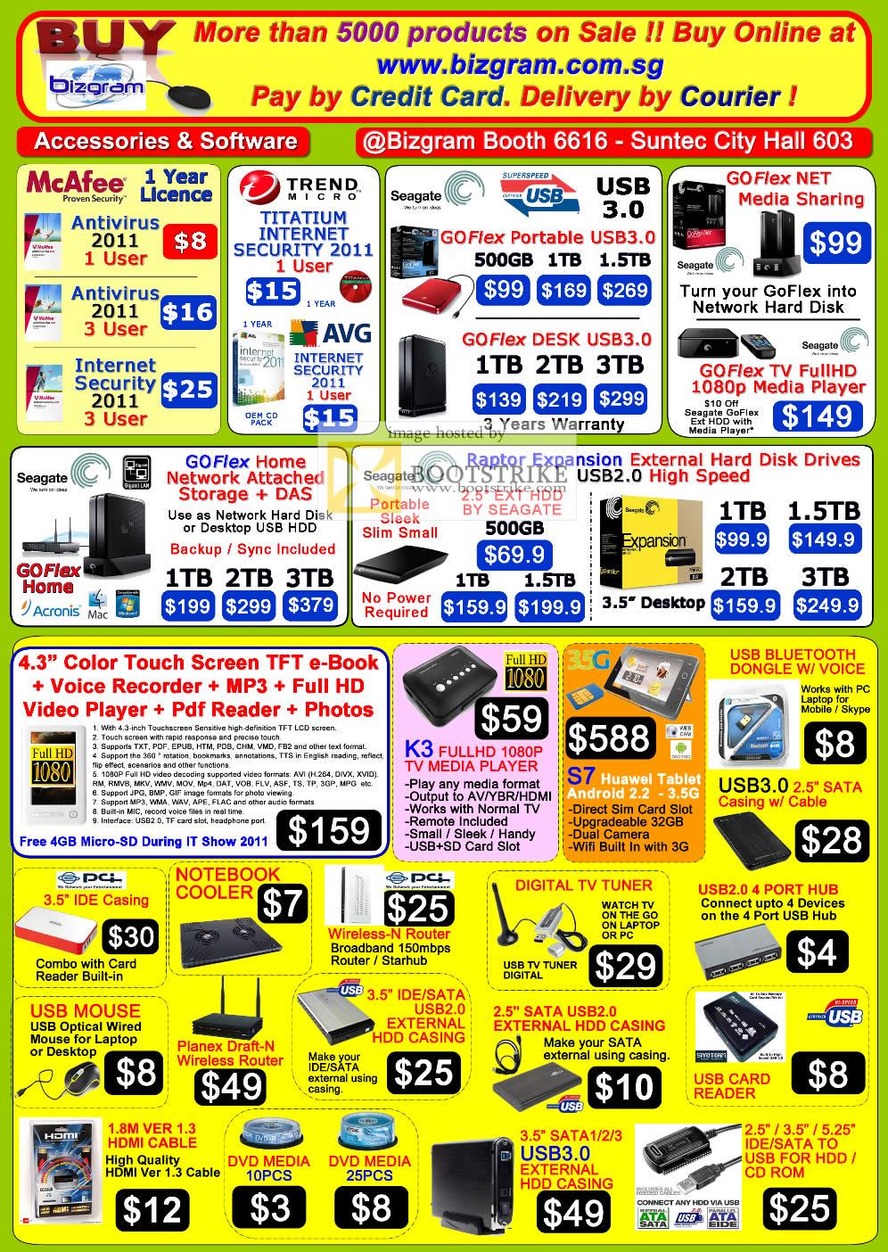 IT Show 2011 price list image brochure of Bizgram Accessories Antivirus Mcafee Trend Micro Seagate External Storage GoFlex NAS Raptor Expansion Media Player K3 S7 Huawei Router