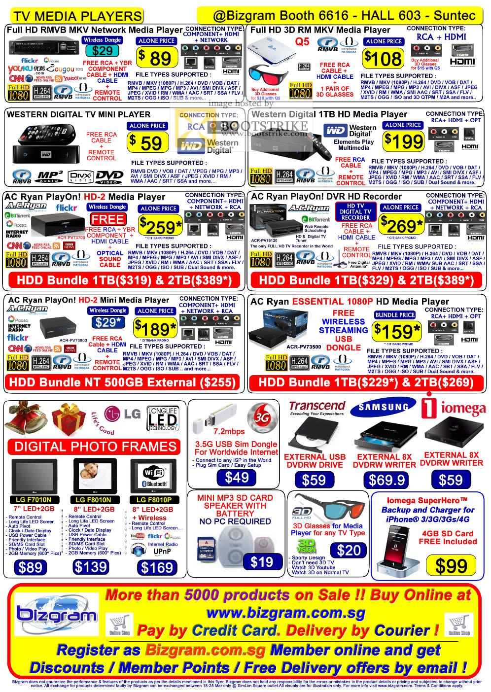 IT Show 2011 price list image brochure of Bizgram TV Media Player Q5 3D WD TV Mini AC Ryan PlayOn HD-2 DVR Essential Digital Photo Frames External DVD Drive SuperHero