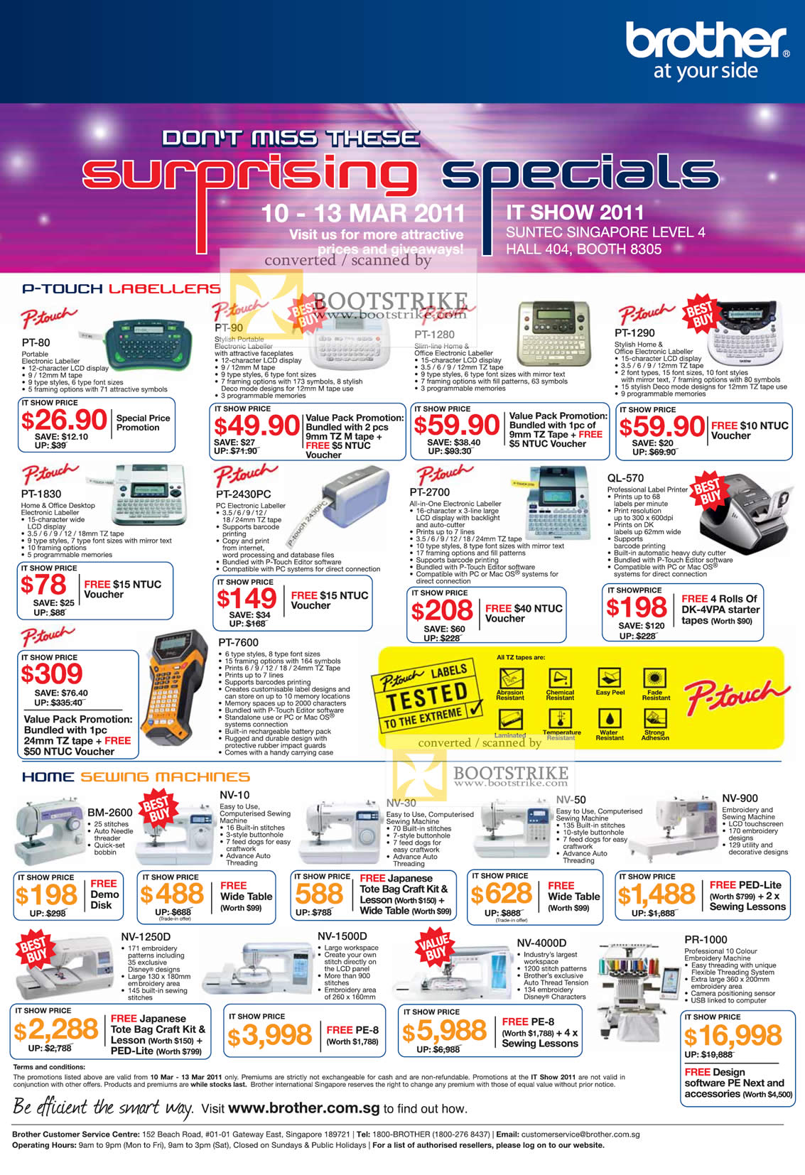 IT Show 2011 price list image brochure of Brother P-Touch Labellers PT-80 90 1280 1290 1830 2430PC 2700 QL-570 7600 Home Sewing Machines BM-2600 NV-10 30 50 900 1250D 1500D 4000D PR-1000