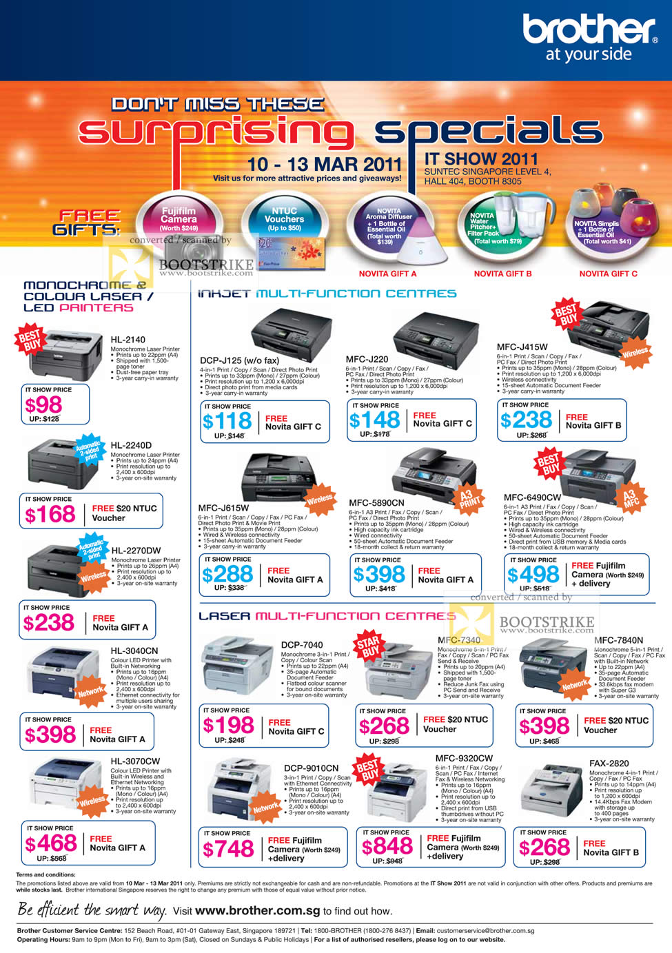 IT Show 2011 price list image brochure of Brother Printers Laser HL-2140 2240D 2270DW 3060CW Inkjet DCP-J125 MFC J220 J615W 5890CN 6490CW DCP 7040 7340 7840N 9010CN 9320CW FAX-2820