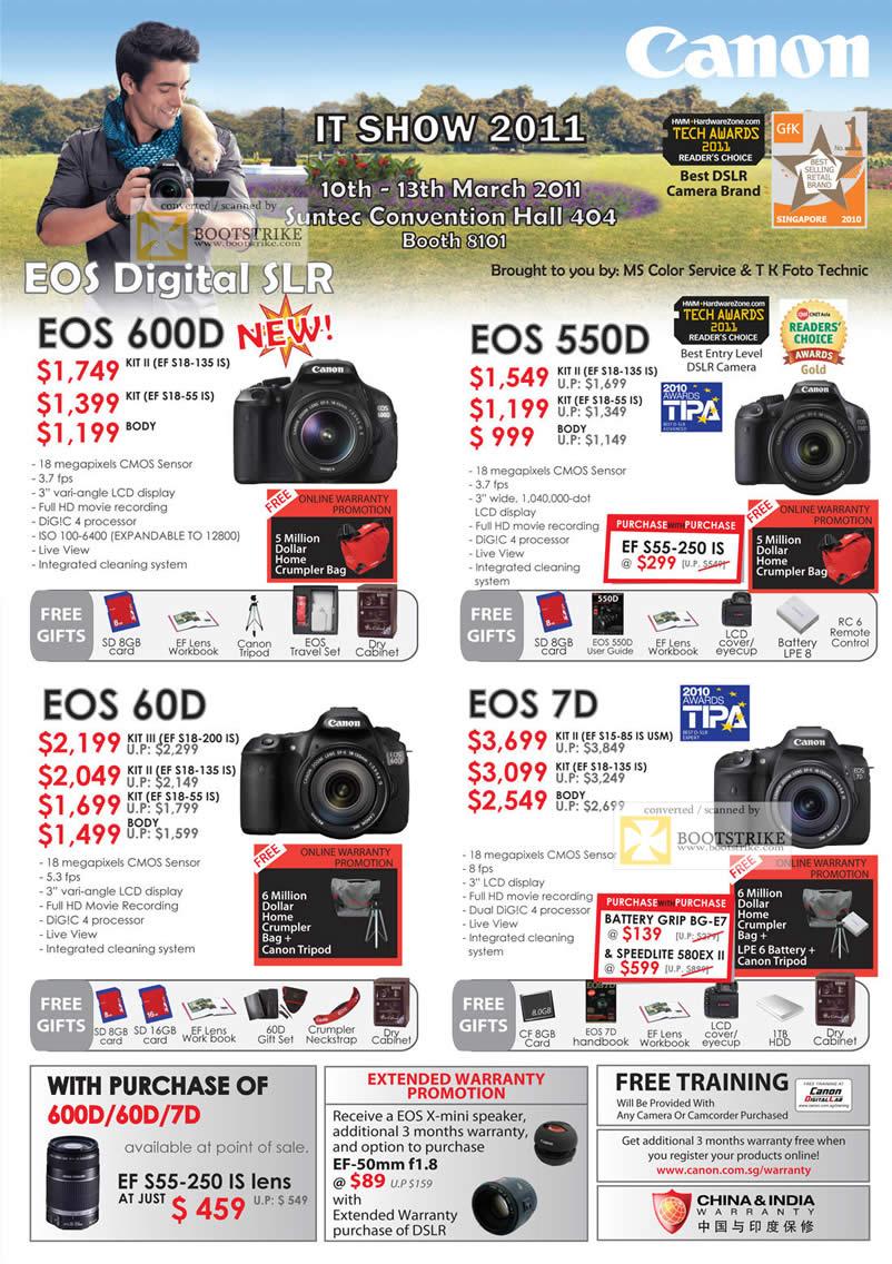 IT Show 2011 price list image brochure of Canon Digital Cameras DSLR EOS 600D 550D 60D 7D 60D