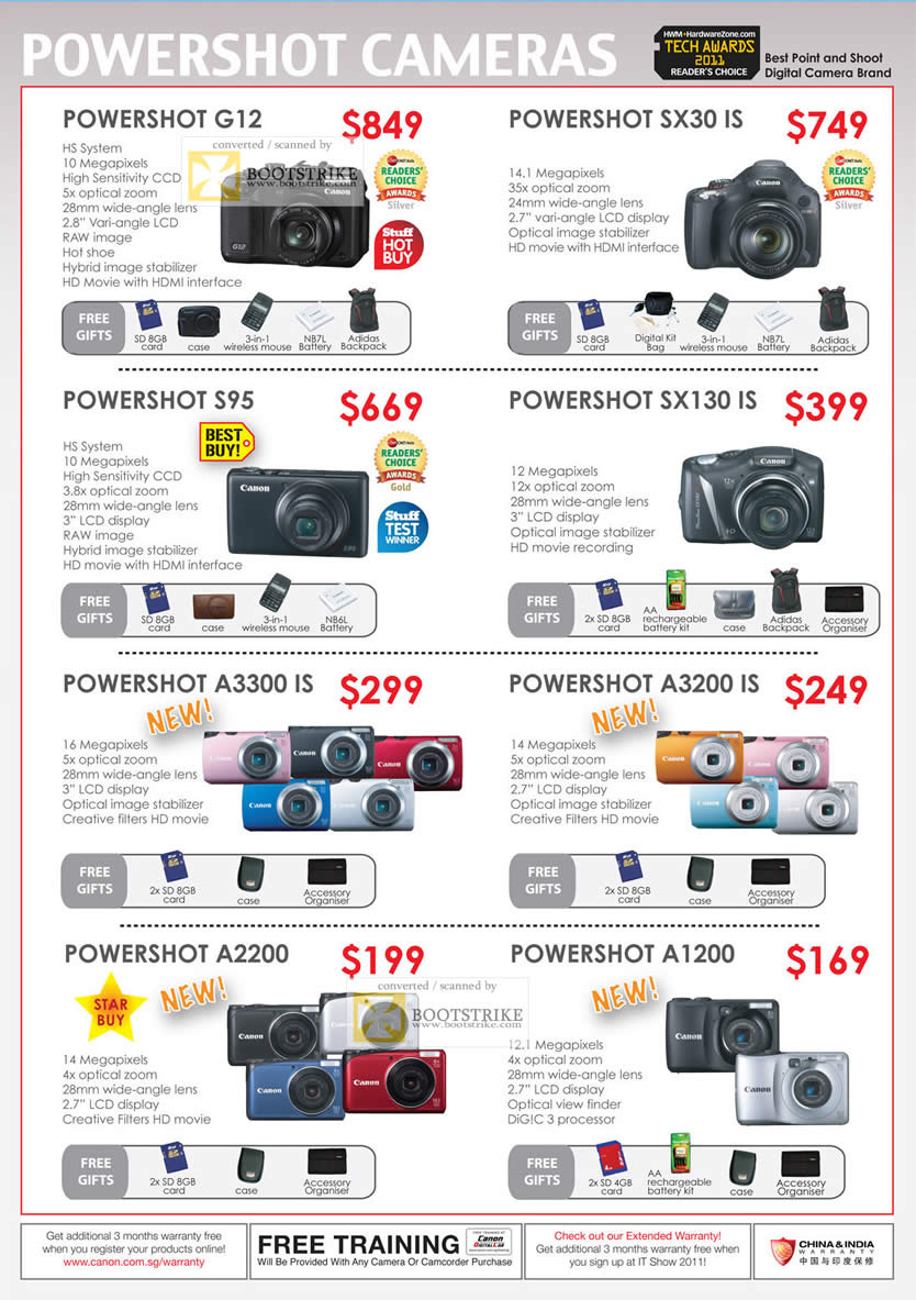 IT Show 2011 price list image brochure of Canon Digital Cameras Powershot G12 SX30 IS S95 SX130 IS A3300 IS A3200 IS A2200 A1200