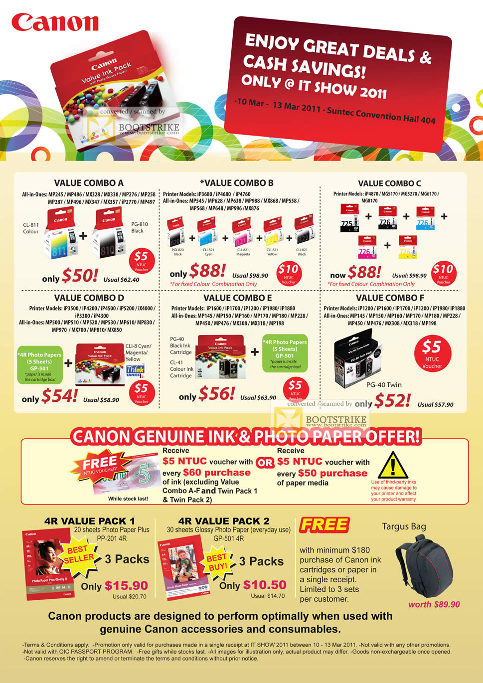 IT Show 2011 price list image brochure of Canon Ink Cartridges Glossy Photo Paper