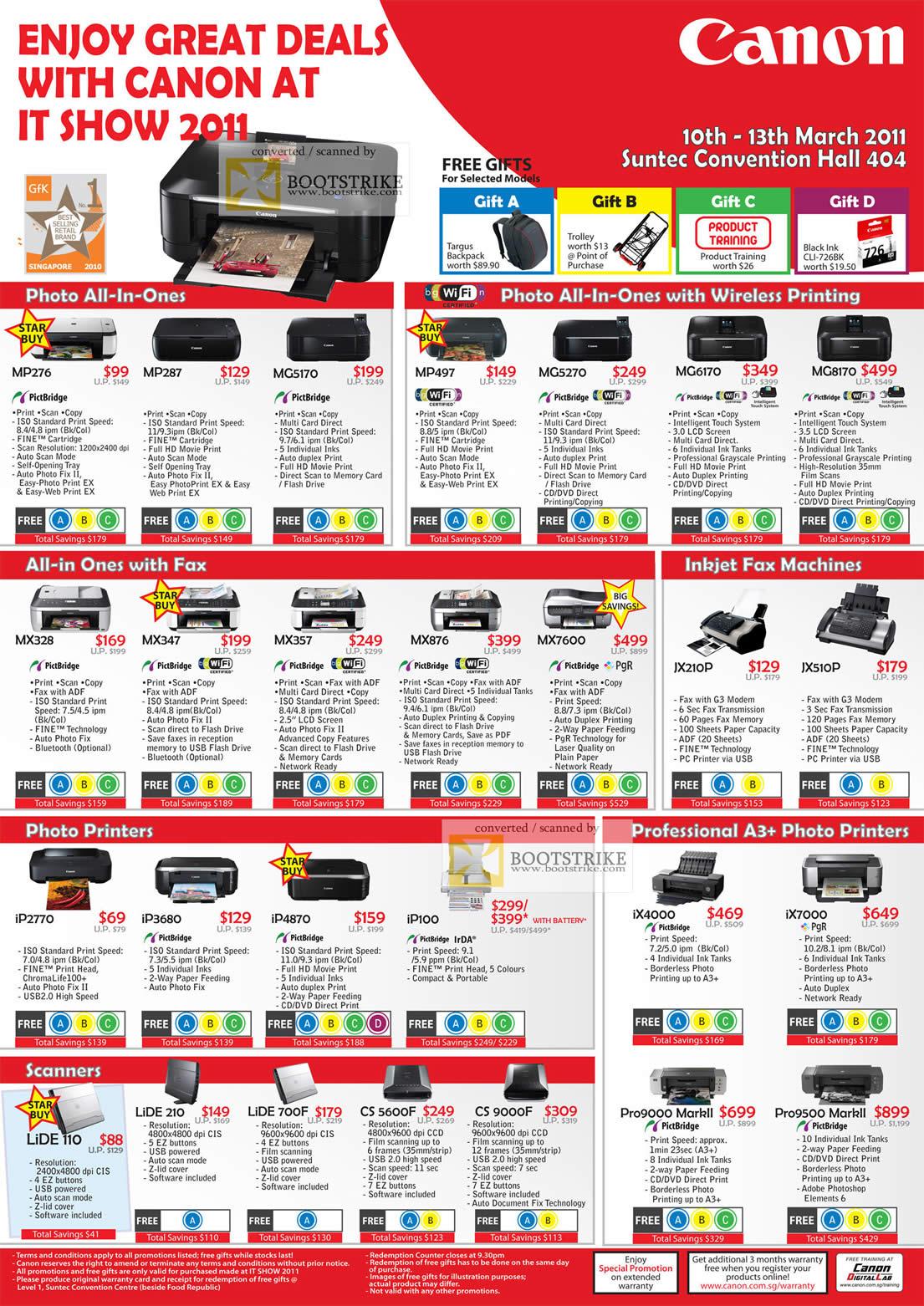 IT Show 2011 price list image brochure of Canon Laser Printers Lasershot LBP6000 LBP3500 MF4412 D520 MF4450 MF4580DN MF5870DN LBP5050N LBP7200CD MF8350CN LBP7750DN LV7280