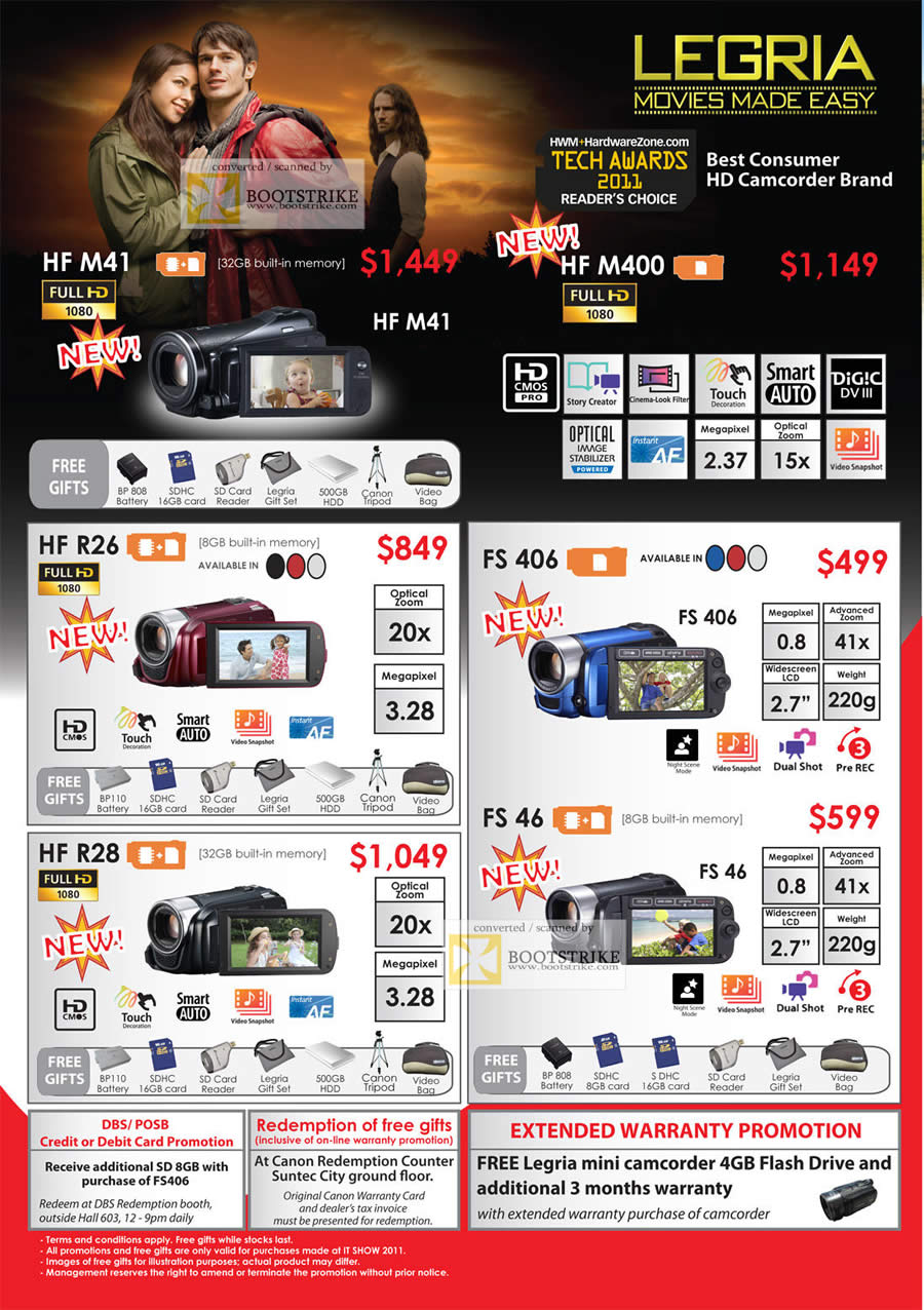 IT Show 2011 price list image brochure of Canon Legria Video Camcorders HFR26 FS406 HFR28 FS46
