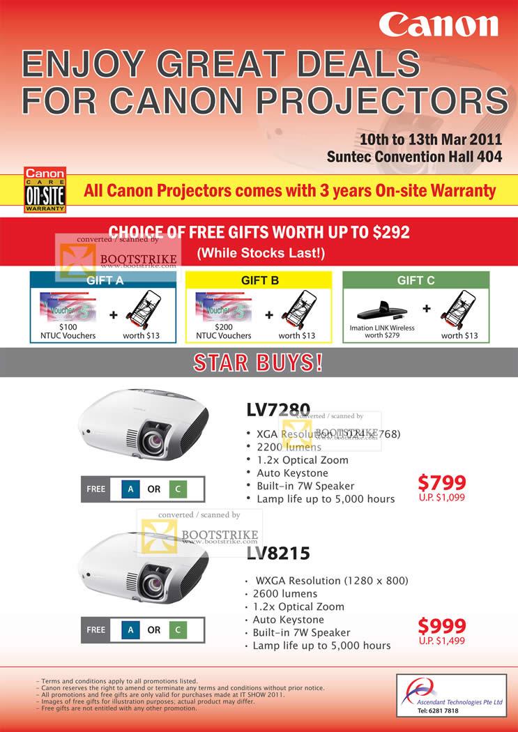 IT Show 2011 price list image brochure of Canon Projectors LV7280 LV8215