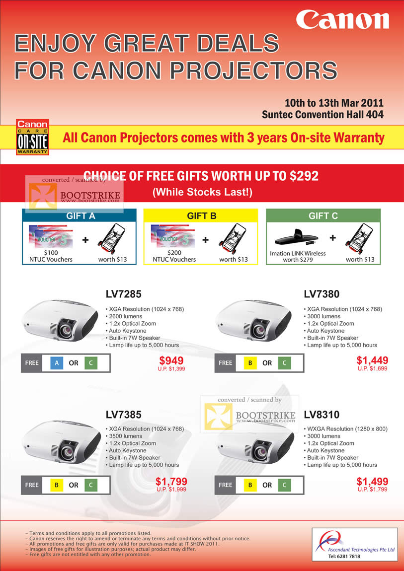 IT Show 2011 price list image brochure of Canon Projectors LV7285 LV7380 LV7385 LV8310