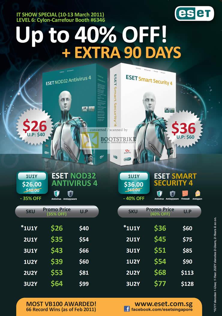 IT Show 2011 price list image brochure of Carrefour Cylon Version 2 Eset NOD32 Antivirus 4 Smart Security 4
