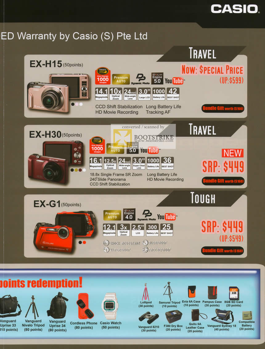 IT Show 2011 price list image brochure of Casio Digital Cameras Exilim EX-H15 EX-H30 EX-G1