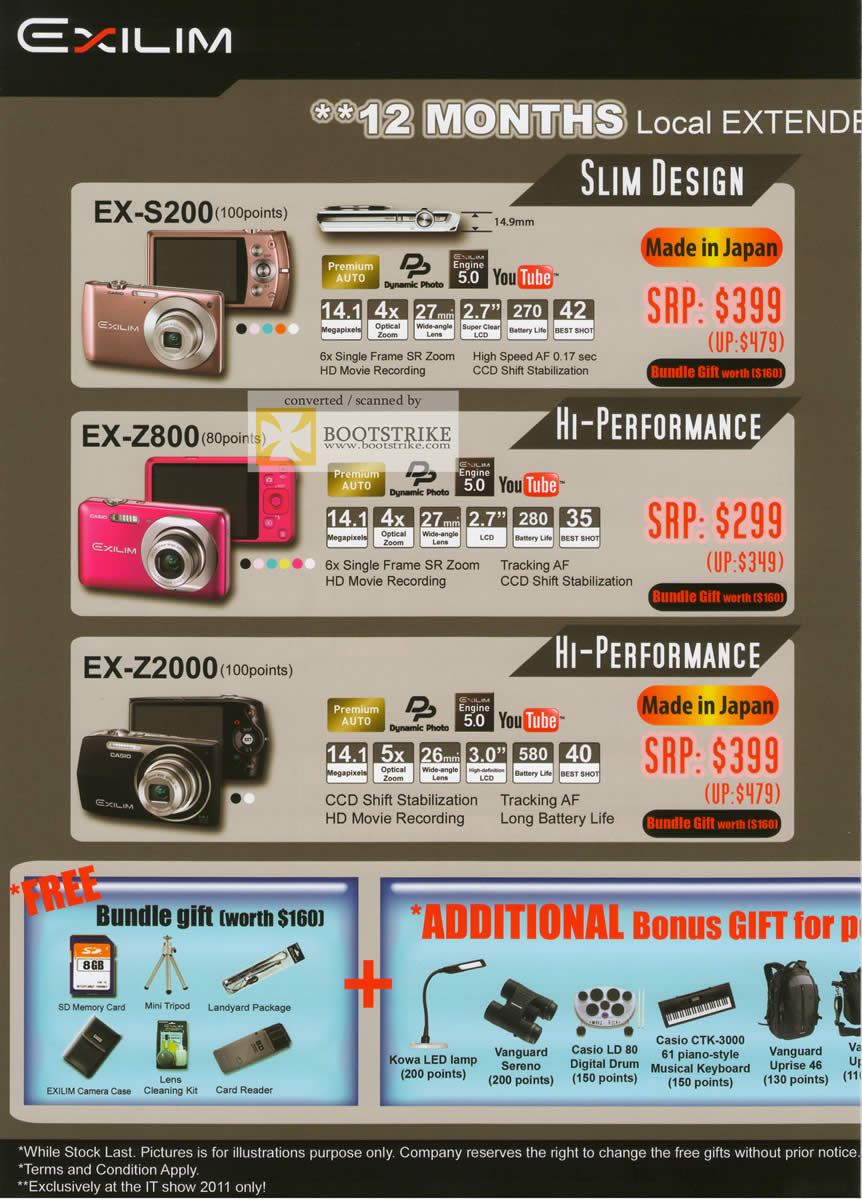IT Show 2011 price list image brochure of Casio Digital Cameras Exilim EX-S200 EX-Z800 EX-Z2000