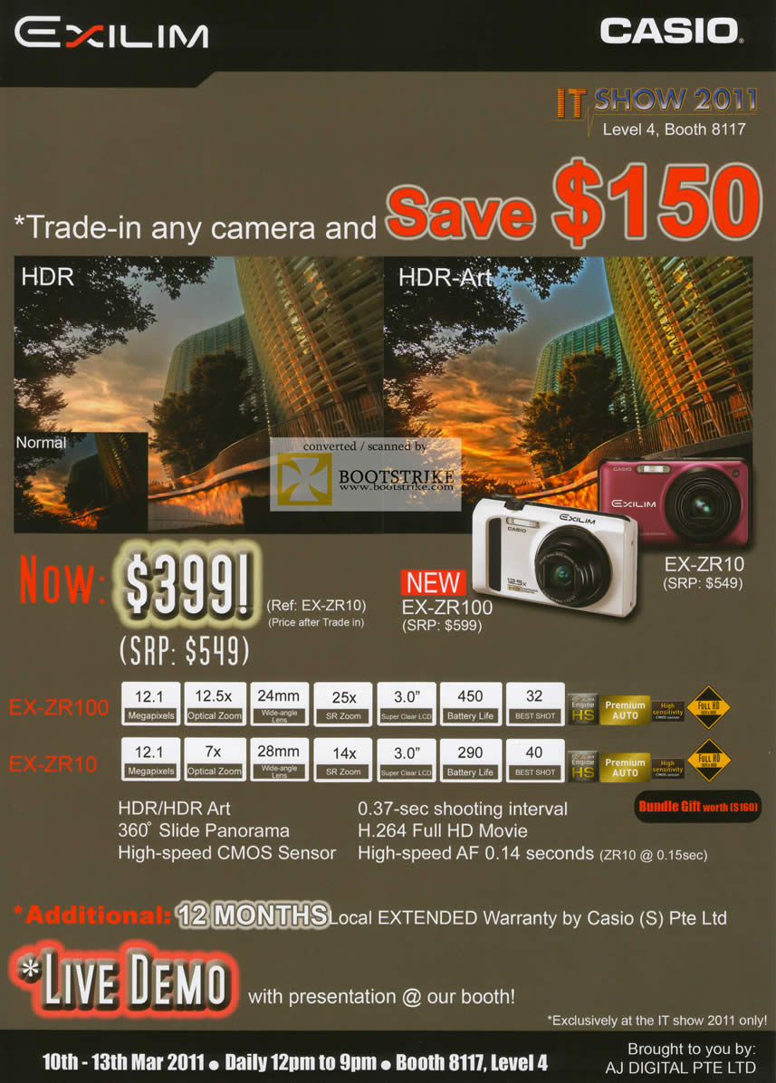 IT Show 2011 price list image brochure of Casio Digital Cameras Exilim EX-ZR100 EX-ZR10 Trade In