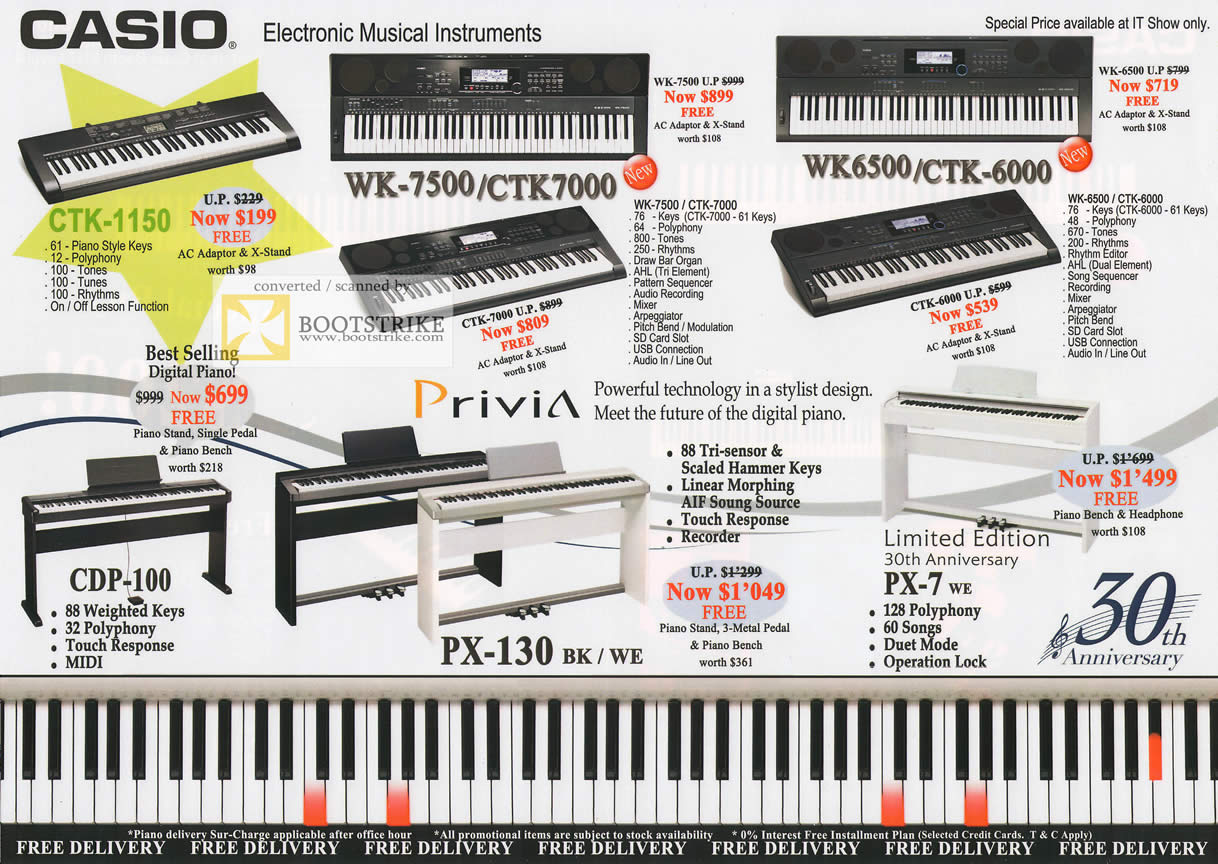 IT Show 2011 price list image brochure of Casio Music Keyboards CTK-1150 CDP-100 WK-7500 CTK-7000 Privia PX-130 WK-6500 CTK-6000 PX-7