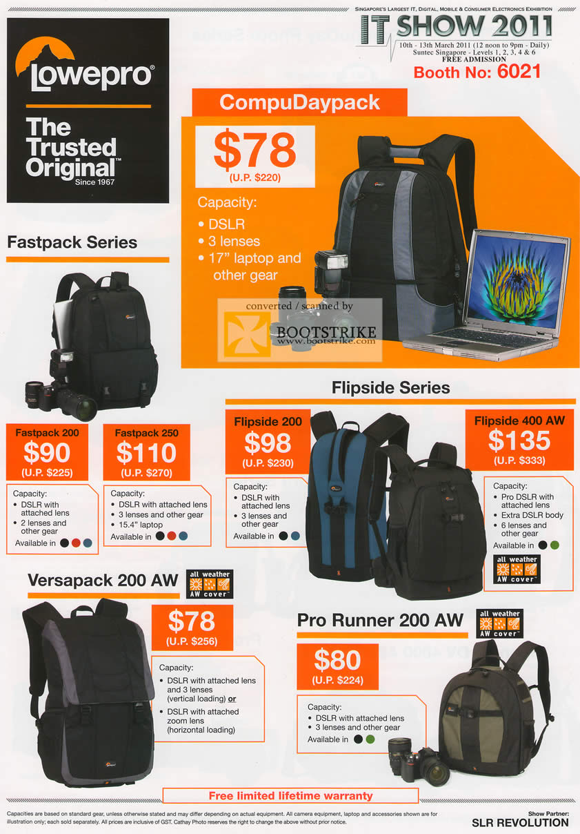 IT Show 2011 price list image brochure of Cathay Photo Lowepro Bags CoupuDaypack Fastpack 200 250 Flipside 200 400 AW Versapack Pro Runner