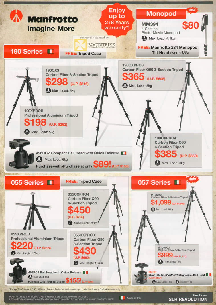 IT Show 2011 price list image brochure of Cathay Photo Manfrotto Tripods Monopod MM394 190CX3 190XPROB 190CXPRO3 190CXPRO4 055 057