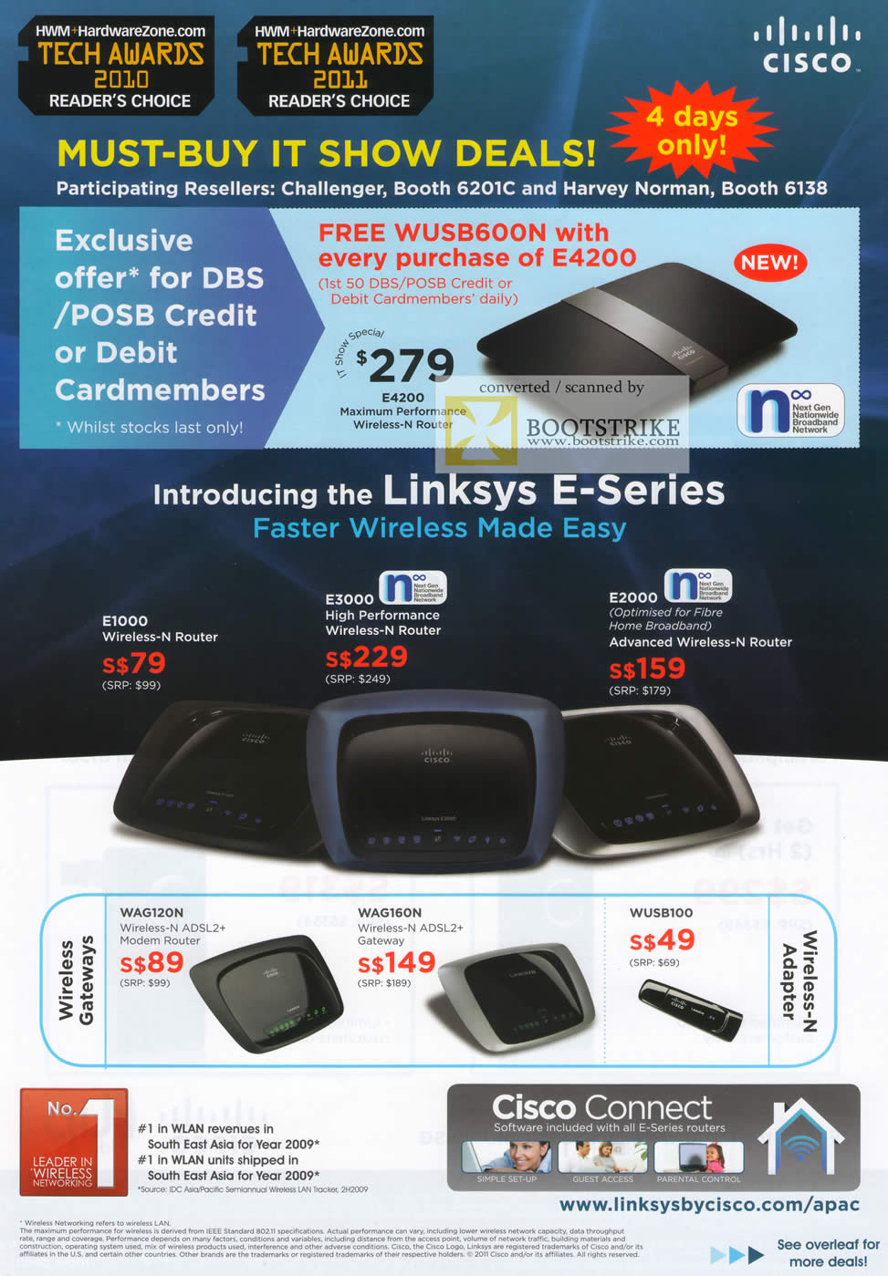 IT Show 2011 price list image brochure of Cisco Linksys E-Series W4200 Wireless N Router E1000 E3000 E2000 WAG120N WAG160N WUSB100 Challenger Harvey Norman